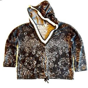 Dylan Anthropologie Velvet Burnout Hoodie Black S